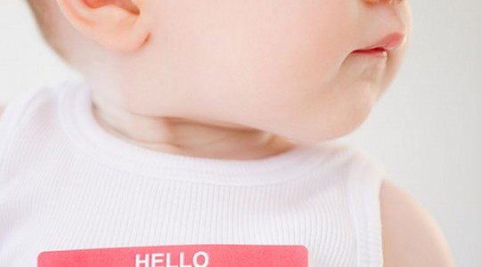 Baby wearing name tag