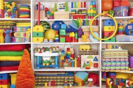 Shelve full of kids toys