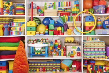 Shelve full of kids toys