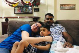 Parents bonding with autistic son